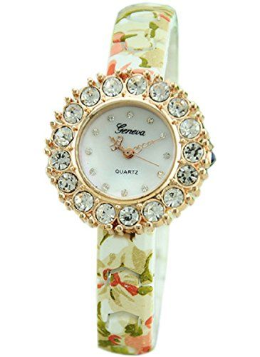 MerryDay Hotsale Printed Flower Luxury Diamond Style Women Watch * Read more at the image link.