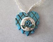 Turquoise Heart Polymer Clay Necklace