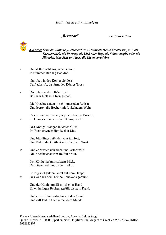 Inszenierung Kreative Umsetzung Von Heinrich Heines In 2020 Heinrich Heine Heine Lernen