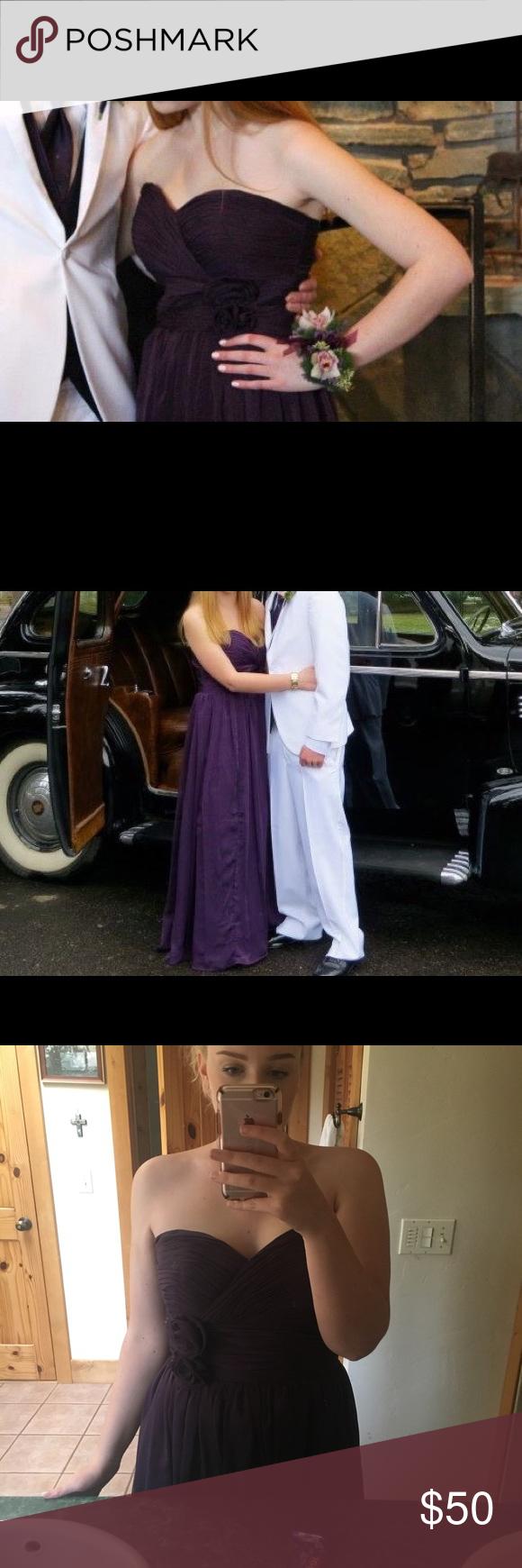 Purple bridesmaid prom dress full length deep purple and prom