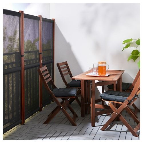 SLÄTTÖ Privacy screen, outdoor - black, brown stained #balconyprivacy