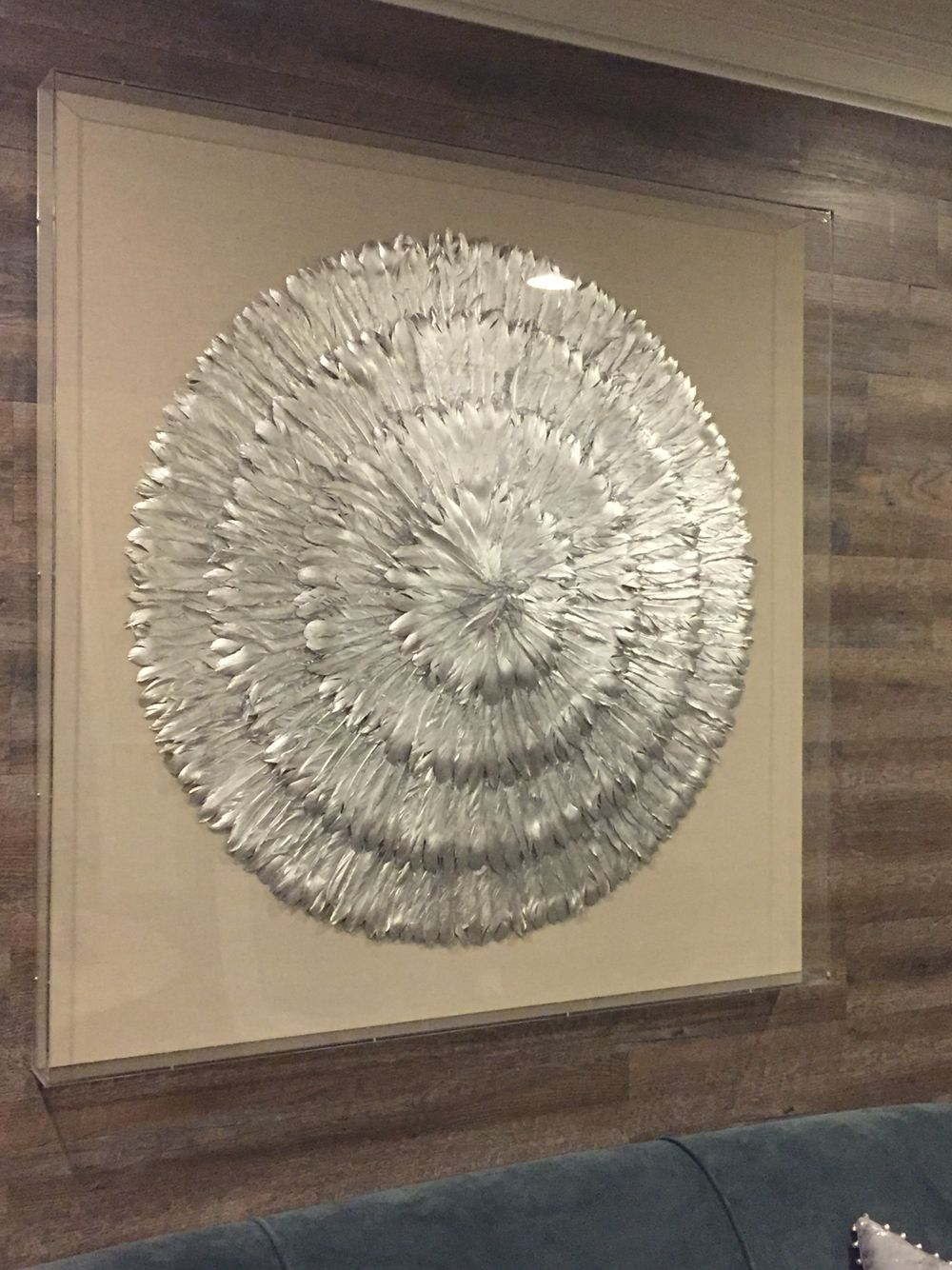 Wall Art Linen With Silver Flower Made Of Feathers Under