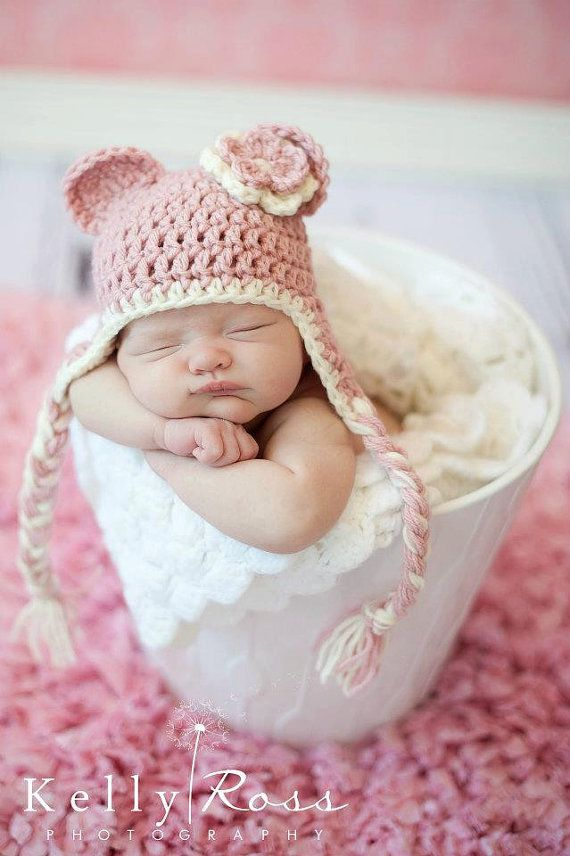 Crochet Baby Beanie Hat With Ears Earflaps By Thisanthatboutique