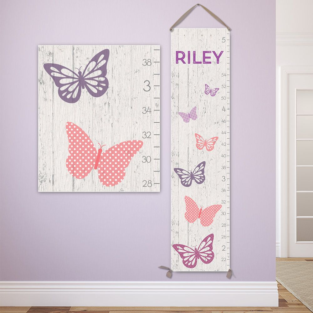 Butterfly nursery decor personalized canvas growth chart growth butterfly nursery decor personalized canvas growth chart growth chart girl height chart gc0117s nvjuhfo Image collections