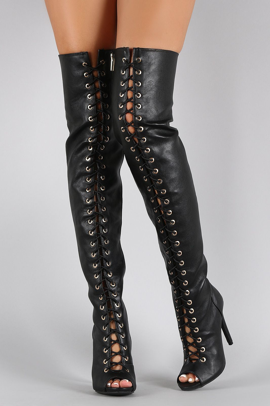 Dollhouse Vegan Leather Lace Up Peep Toe Stiletto Thigh High Boots ...