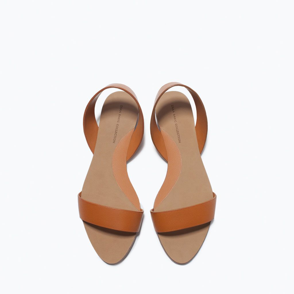 FLAT LEATHER SANDALS-Flat sandals-Shoes-WOMAN   ZARA United States