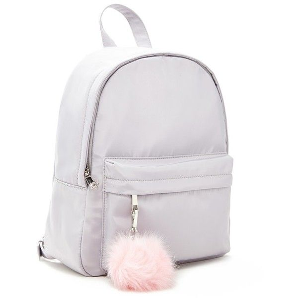 942494b15ec1 Forever21 Pom Pom Large Sheeny Backpack (333.735 IDR) ❤ liked on Polyvore  featuring bags