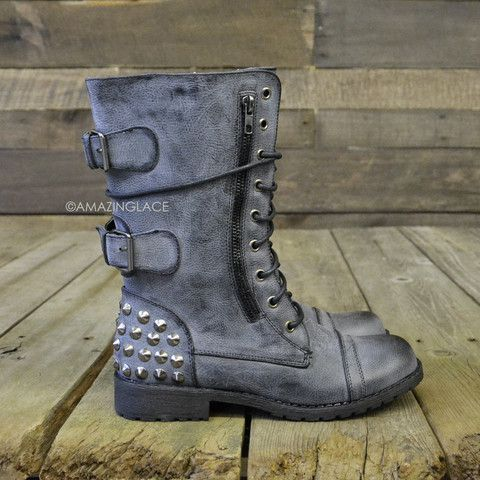 Harley Studded Black Combat Military Boots   Amazing Lace
