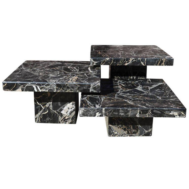Set Of Three Black Italian Marble Pedestal Coffee Tables 1stdibs Com Shoppingwith Goop Foun Coffee Table