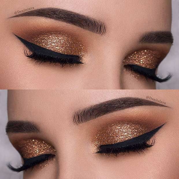 Photo of Dark Gold Eye Makeup Look for New Years Eve #makeup #silvester #makeup #silvester