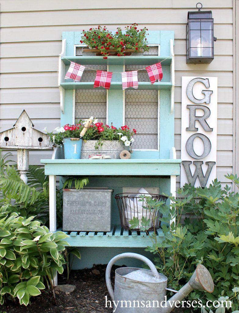 Cottage Farmhouse Garden Ideas Red White