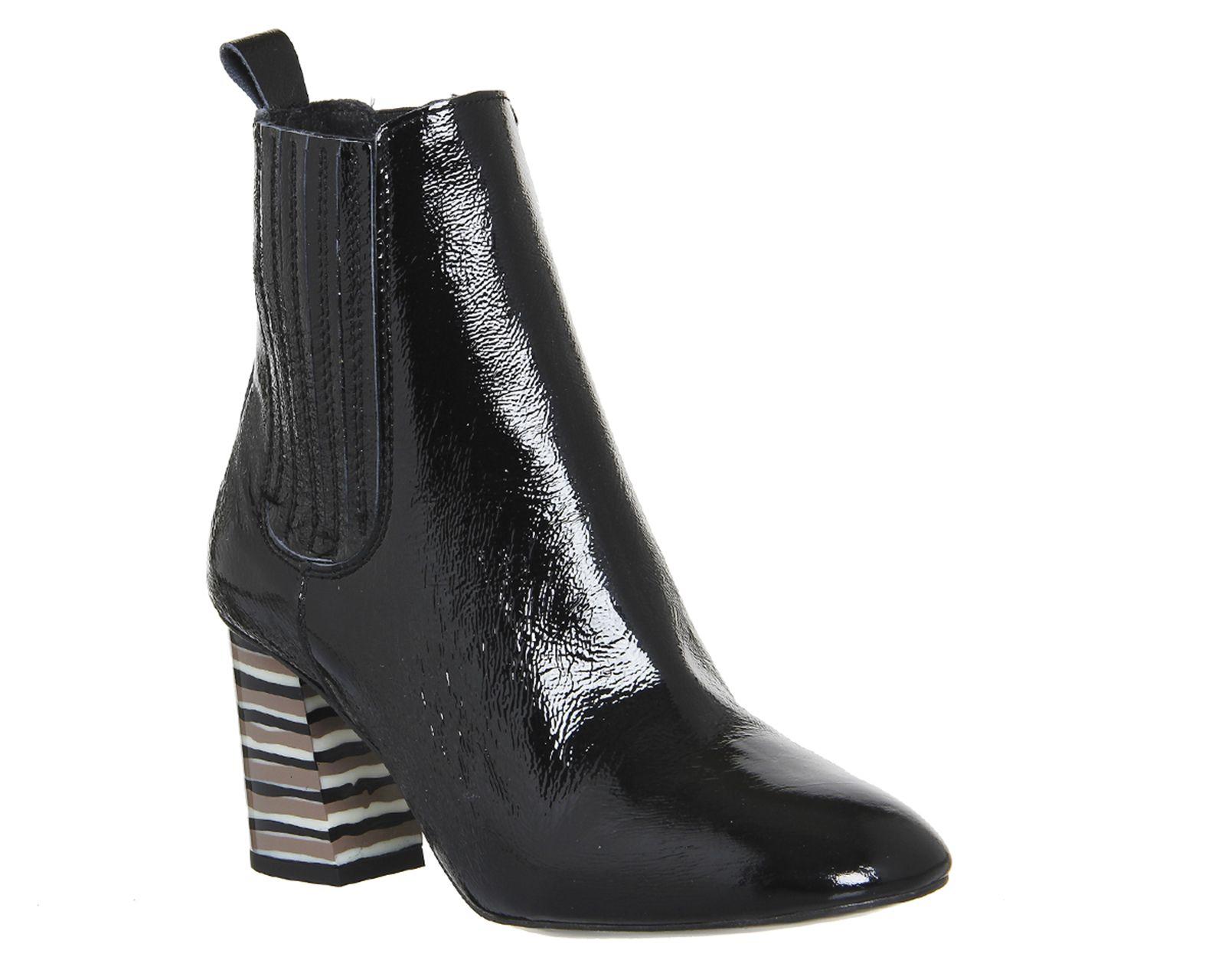 Black Crinkle Patent Stripe Heel Office Jealous Heeled Chelsea Boots From Co