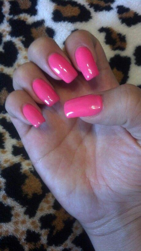 Luscious pink shellac nails