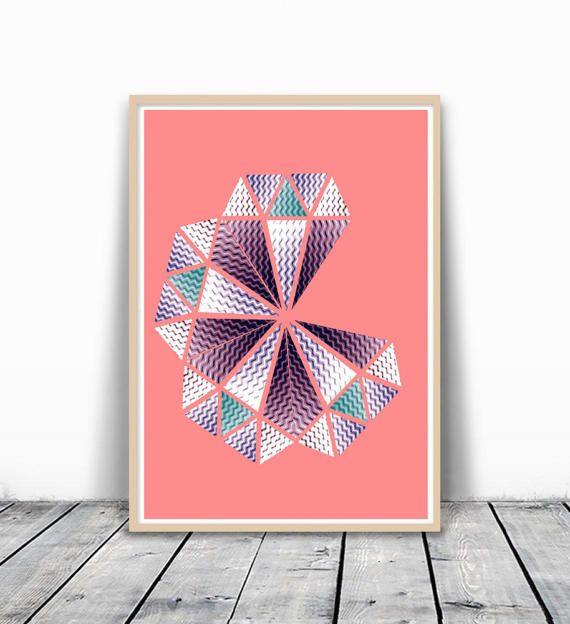 Geometric Pink Print Large Print Pink Geometric by VividPictures ...
