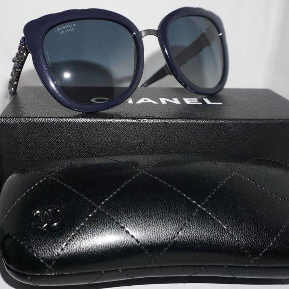 8223d2dccad CHANEL Sunglasses New Dark Blue Butterfly Blue CHANEL Sunglasses New Dark  Blue Butterfly Blue Polariz 5356