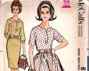 Items similar to Vintage 1962 McCall's 6357 Sewing Pattern - Misses Proportioned Dress With Slim Or Full Skirt on Etsy