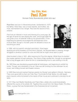 paul klee biography Paul klee was born on 18 december 1879 near bern in switzerland into the family of hans klee, a music teacher, and his wife maria frick, also a musician as.