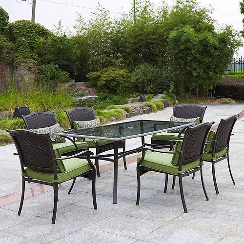 Providence 7 piece patio dining set green - Walmart lawn and garden furniture ...