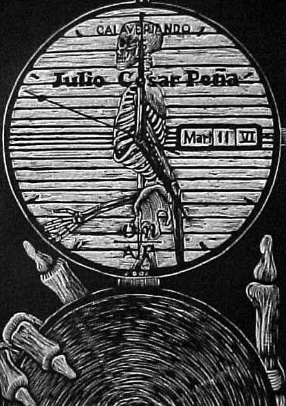 Cajas para el tiempo  Calavereando (2006), xilografía de Julio César Peña.