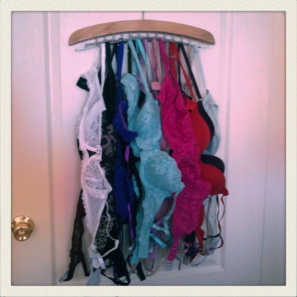 Tie Rack For Bra Storage. So Brilliant!