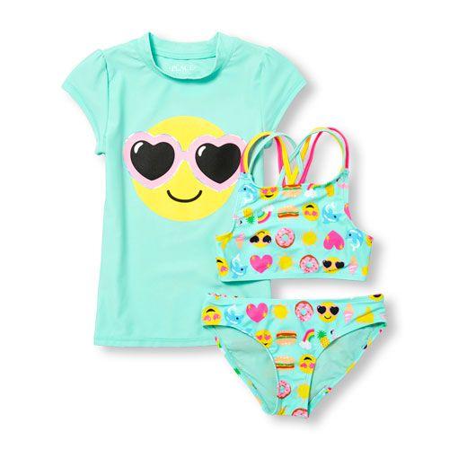 8b5ead2da6 Girls Short Sleeve Emoji Rashguard And Printed 2-Piece Swimsuit Set - Green  - The Children's Place