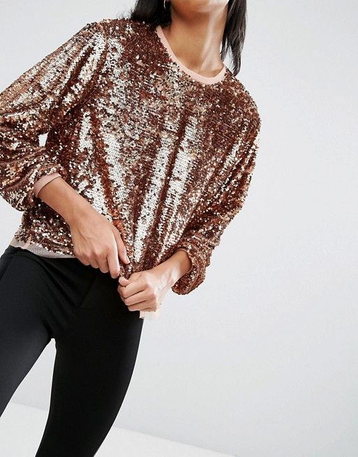 ASOS | ASOS Slouchy Top In All Over Sequins