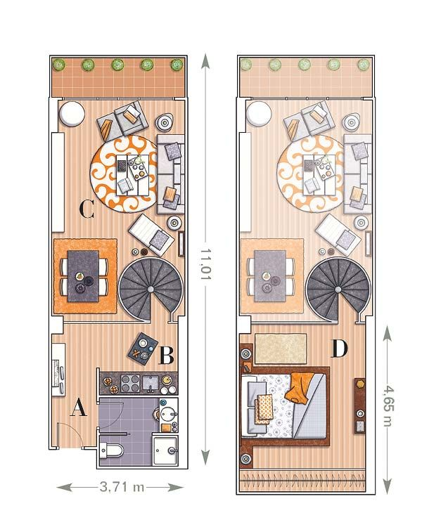 Small Loft Featuring Bright Vividly Colored Spaces Loft Design Small Loft Small House Plans