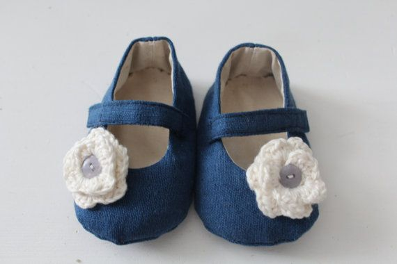 Blue linen shoes with cotton crochet flower and by DottyRobin