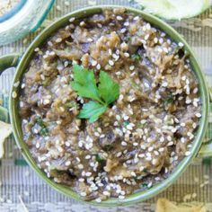 EGGPLANT, MUSHROOM & GARLIC DIP - great snack or party starter, you can twist your way by replacing ingredients & types of garlic. http://garlicmatters.com/aubergine-mushroom-garlic-dip/