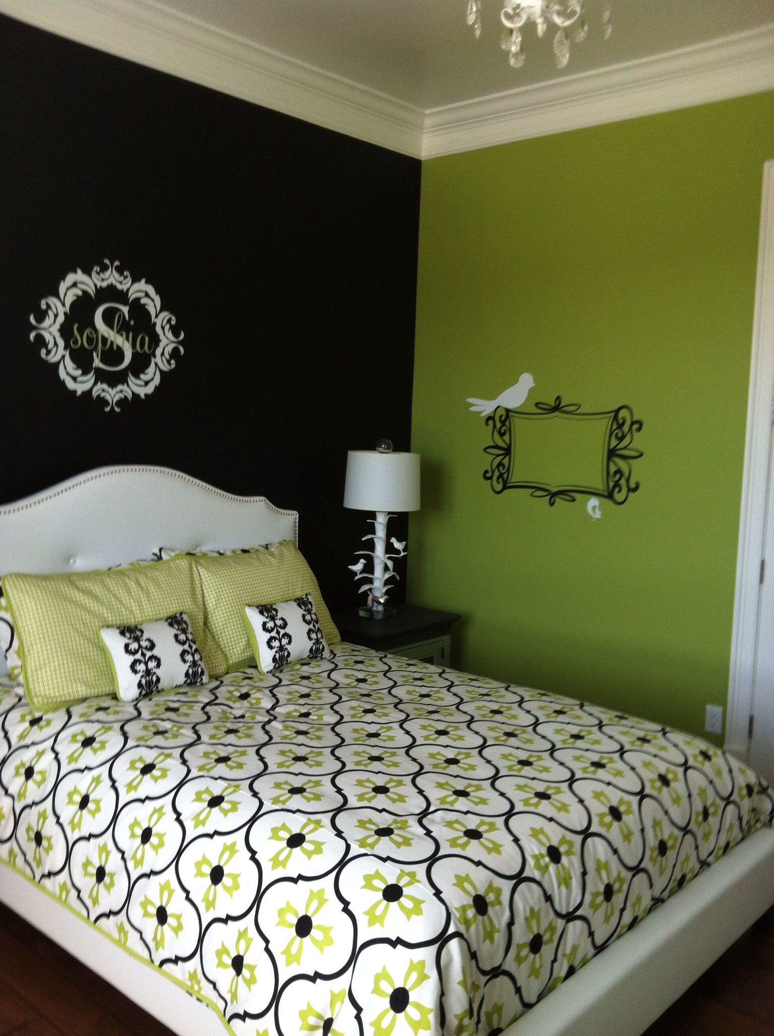 Sophisticated Lime Black And White Green Bedroom Walls Lime