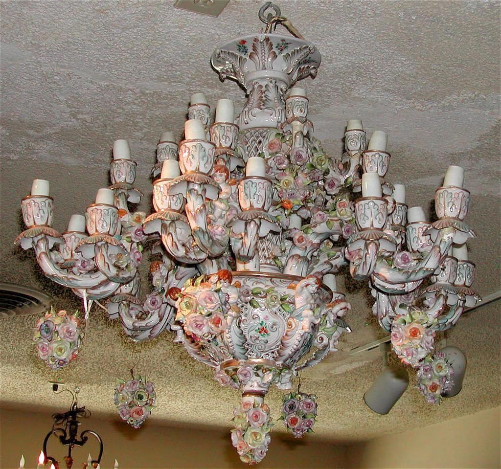 Beautiful German Porcelain Chandelier. C1880 | chandeliers ...