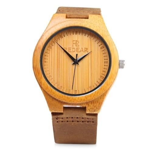 Dial Resistant Bamboo WatchPinterest Water Simple Redear Quartz XkZiuOP