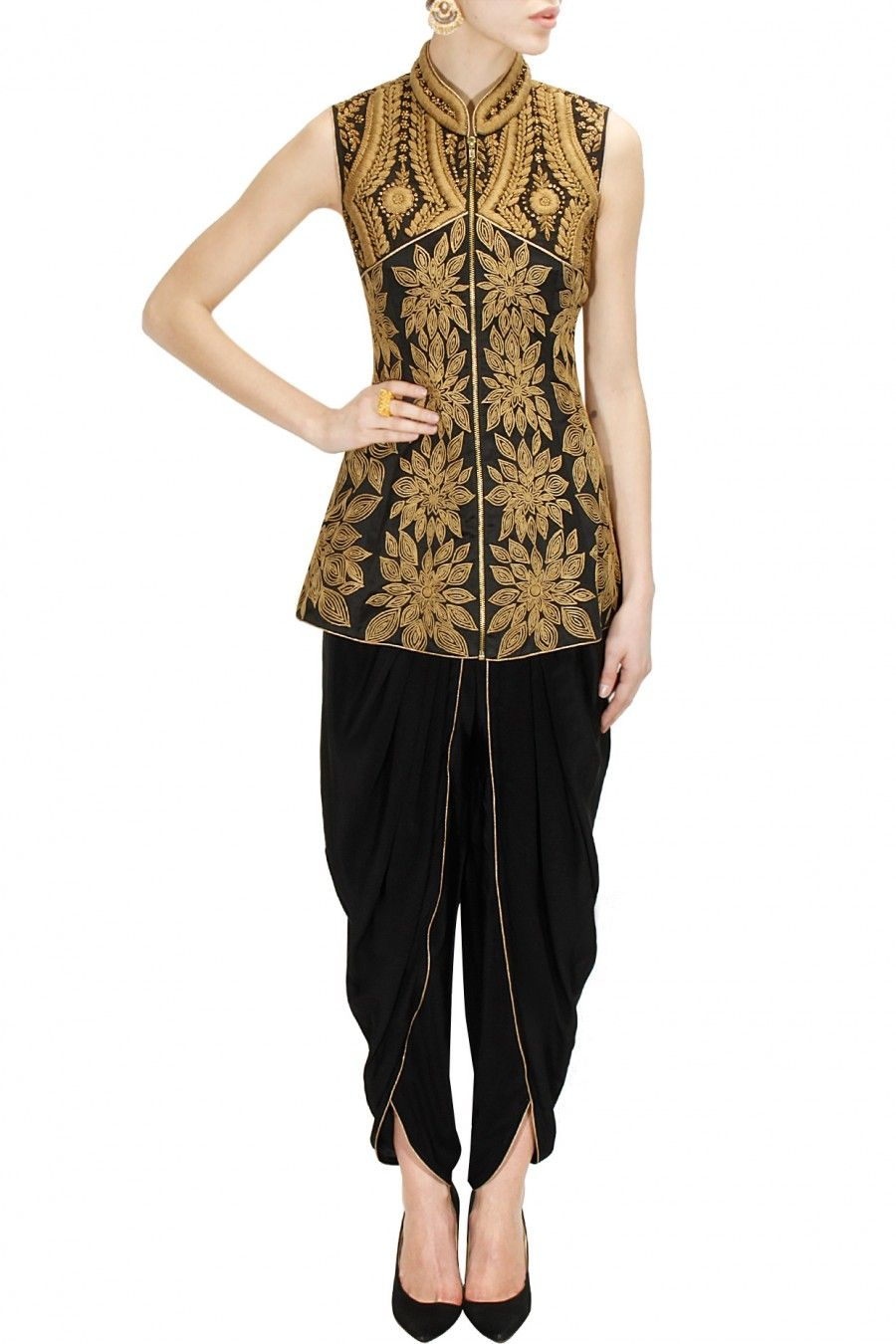 67986465c Black dori embroidered peplum jacket with dhoti pants available only at Pernia's  Pop-Up Shop.