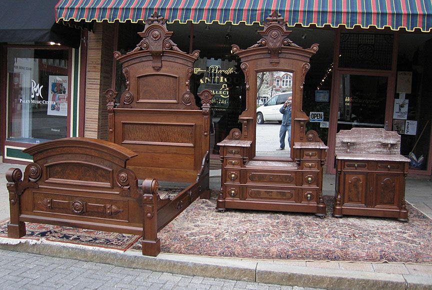 rennaissance revival bedroom furniture | Walnut Victorian Renaissance  Revival 3PC Bedroom Set - Rennaissance Revival Bedroom Furniture Walnut Victorian