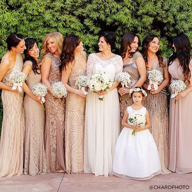 Cream Gold Bridesmaid Dresses