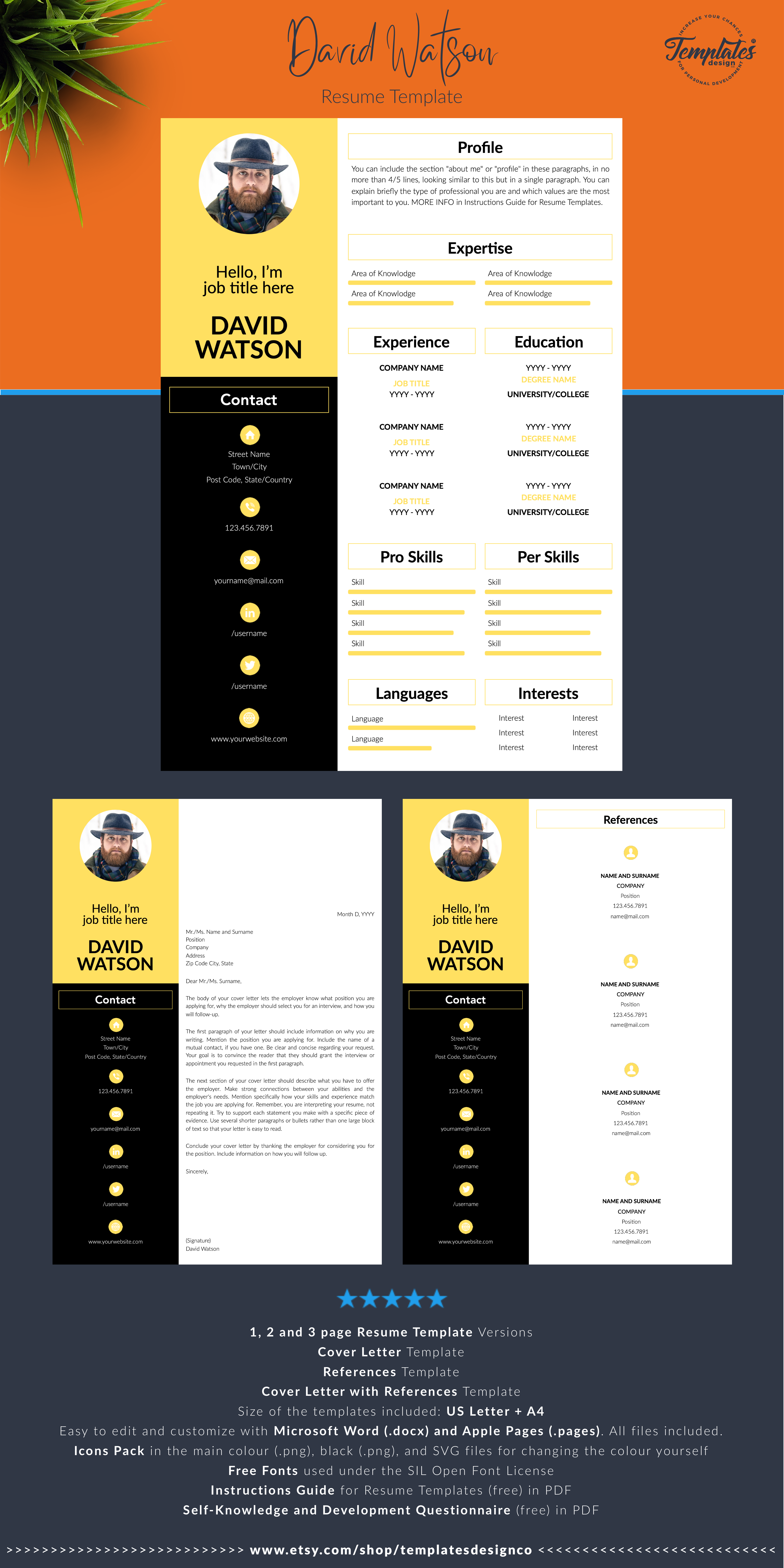 Cv Template Professional Resume Template With Photo Resume Instant Download Creative Cv For Word And Pages Cover Letter References Resume Template Cv Template Cv Template Professional
