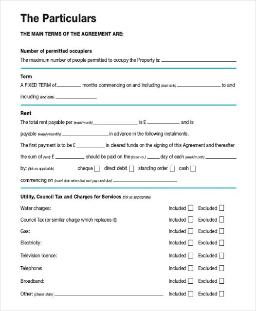 Residential Tenancy Agreement Template Uk Bill Of Lading Forms