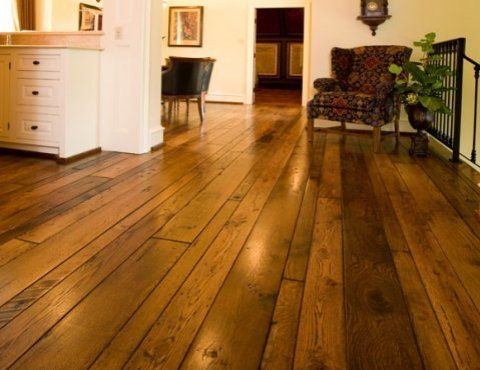 Stain Random Width Reclaimed Oak Floors Water Damage In