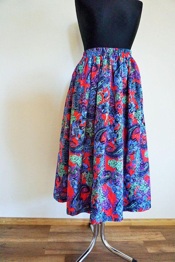 456764378 Vintage Summer Skirt / Skirts / High Waist / High Waisted / Flowers / Floral  / Midi / 90s / 80s / M