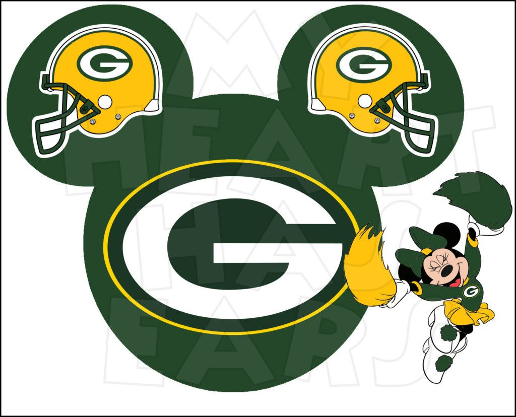 Green Bay Packers Football With Minnie Mouse Instant Download Digital Clip Art Green Bay Packers Football Green Bay Packers Tattoo Green Bay Packers Fans