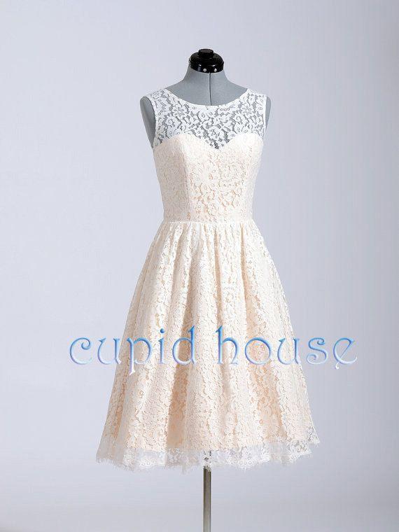 Short Blush Pink Lace Reception Dress Bridesmaid White Ivory Prom Wedding Party