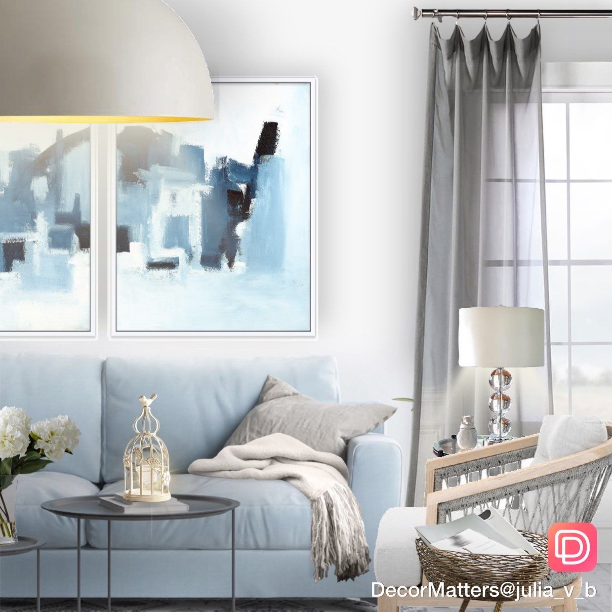 26 Relaxing Green Living Room Ideas: Light Blue And Gray Interior Color Scheme In This Simple