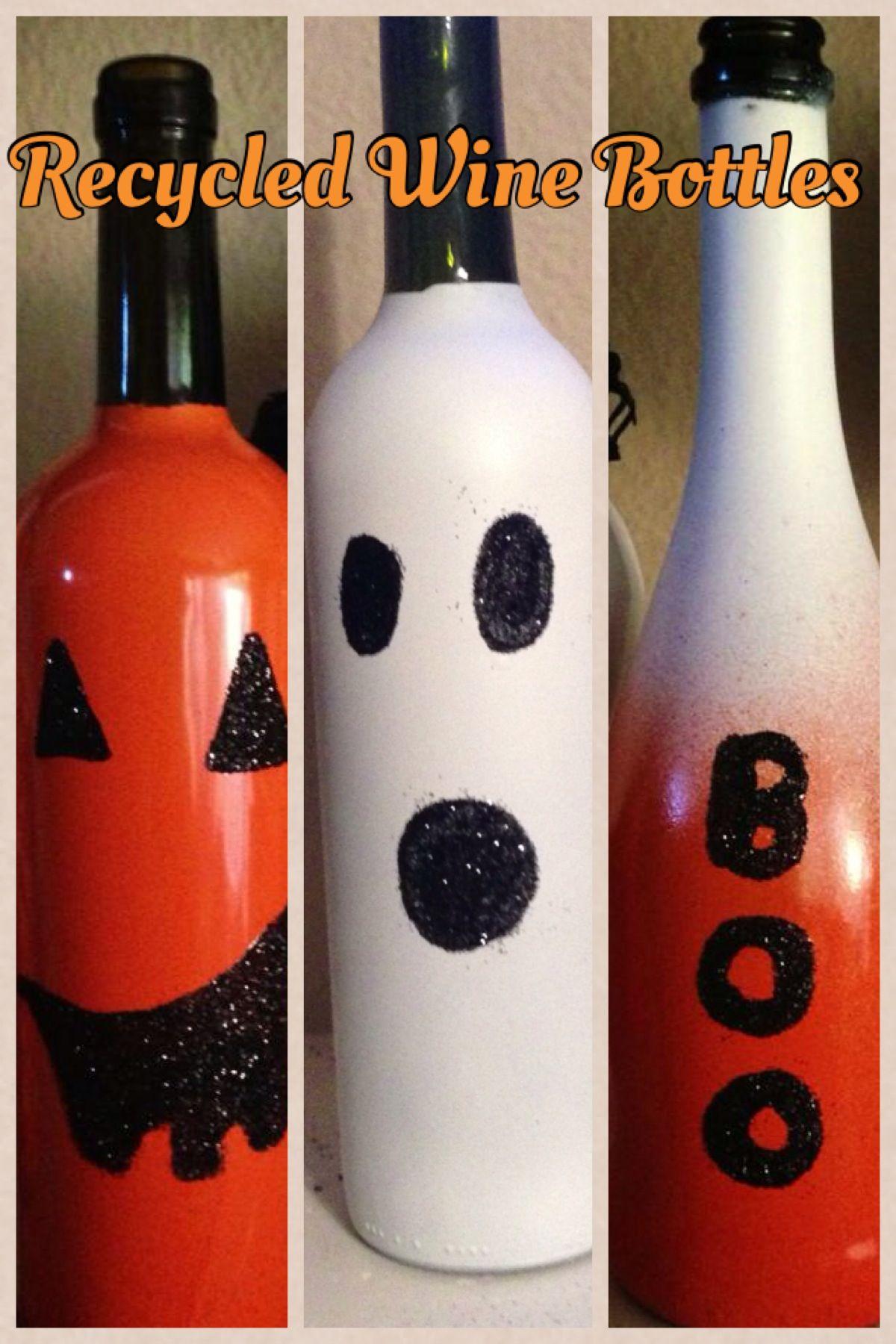 Recycled Wine Bottles For Halloween Halloween Pumpkin Ghost Boo Wine Bottle Diy Crafts Recycled Wine Bottles Bottle Crafts