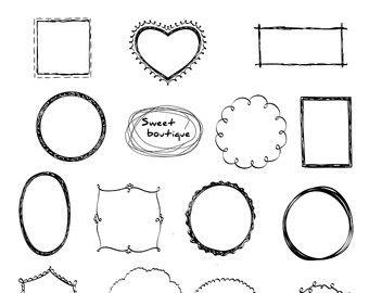 Doodle Frame Clipart Vector Clip Art Frames Marcos Digitales Etsy Drawing Frames Doodle Frame Doodle Frames