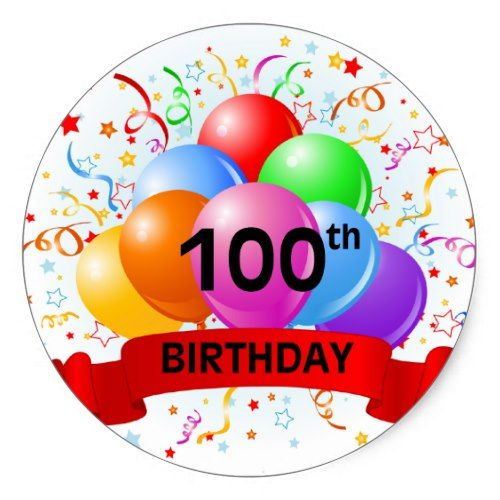 100th Birthday Banner Balloons Classic Round Sticker