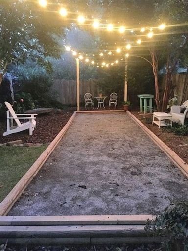 mollie's mom backyard boules court, bocce, backyard, build your own bocce court, family fun, entertaining, #BackyardIdeas