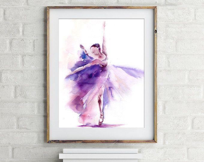 Stampa d'arte ballerina acquerello pittura stampa