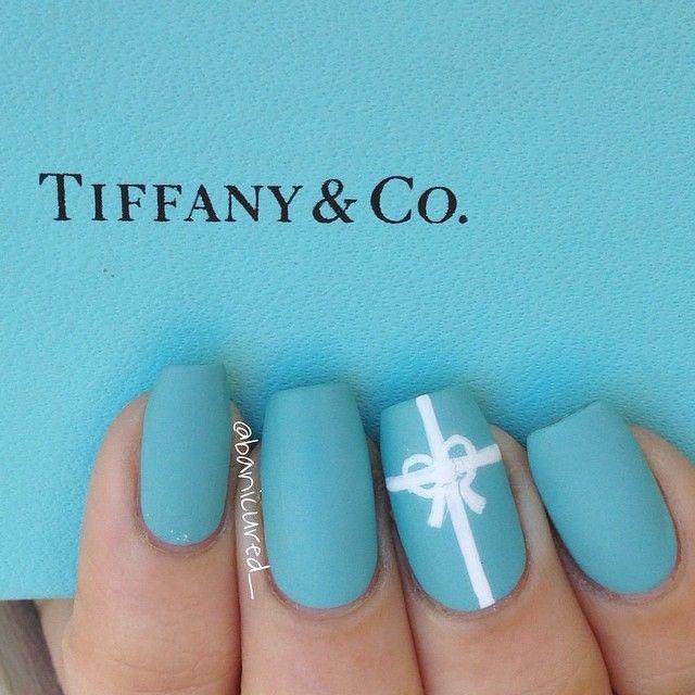 Tiffany Blue Nail Art: Tiffany Blue Nails. #Tiffany&Co