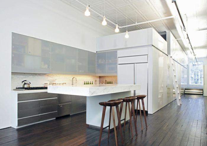 Einrichtungsideen offene küche  offene küche wohnzimmer abtrennen offene küche mit theke ...