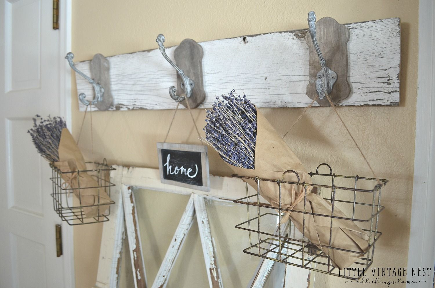 Farmhouse style decorating with wire baskets with images
